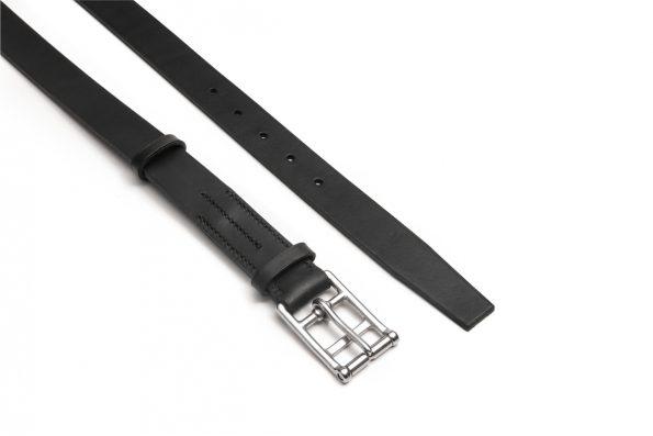 marko popov slim black leather belt