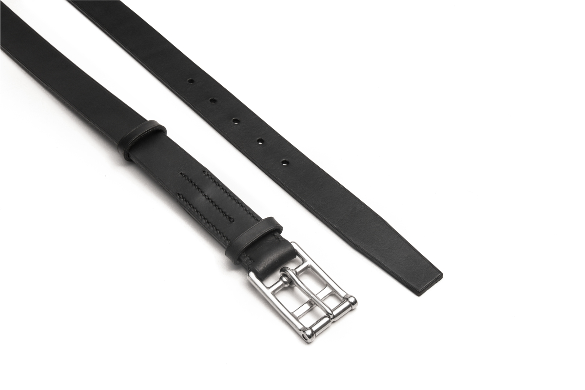 marko popov slim black leather belt